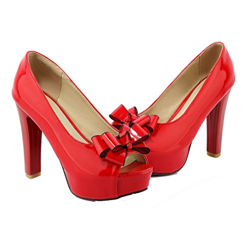 YE Damen Lackleder Blockabsatz High Heels Peep Toe Plateau Pumps mit Schleife Roter Sohle 12cm Absatz Schuhe Rot