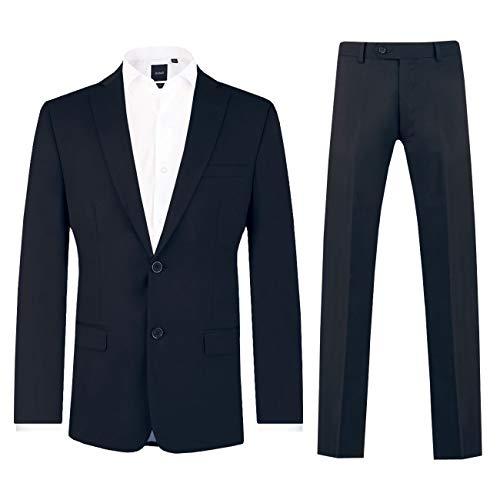 Dobell Herren Marineblauer Anzug zweiteilig Fallendes Revers (56 Jackett mit 56 Hosen)
