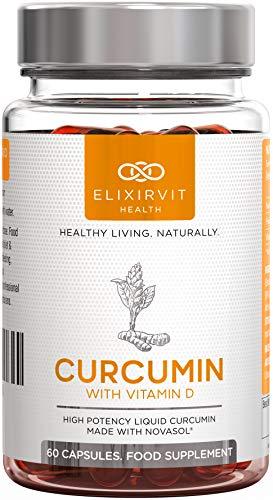 Elixirvit Mizell Curcumin mit Vitamin D – 185x höhere Bioverfügbarkeit als Standard Kurkuma/Curcumin – sofortige Resorption, maximale Schmerzlinderung – 60 Flüssigkapseln NovaSOL Curcumin