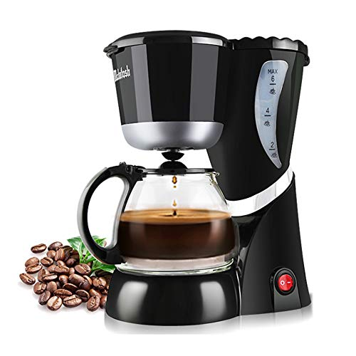 Kaffeemaschinen Schwarz, Kaffeemaschine mit Permanenter Filter, Glaskanne mit großer Kapazität für 1-6 Tassen, Dreischicht-Verbrühschutz, Anti-Drip-Funktion, Automatische Warmhaltefunktion, Spezielle Glas Kaffeekanne