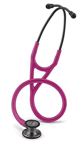 3M Littmann 6178 Cardiology IV Stethoskop, Smoke-Finish Bruststück, himbeerroter Schlauch, Schlauchanschluss und Ohrbügel rauchfarben, 69cm -