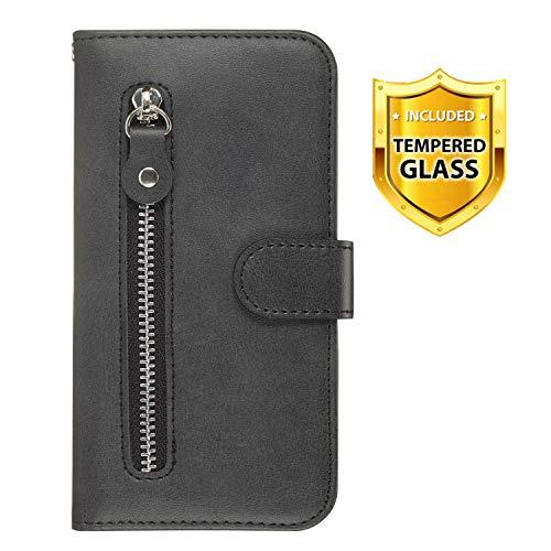 Boloker Cover Compatibile Samsung Galaxy S10E [con Pellicola in Vetro Temperato], Cuoio Portafoglio Flip Case Conception Simple Wallet Case Custodia in PU Lussuosa Cover (Nero)