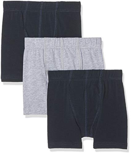 NAME IT Jungen Boxershorts NMMTIGHTS 3P SOLID NOOS, 3er Pack, Mehrfarbig (Grey Melange), 98