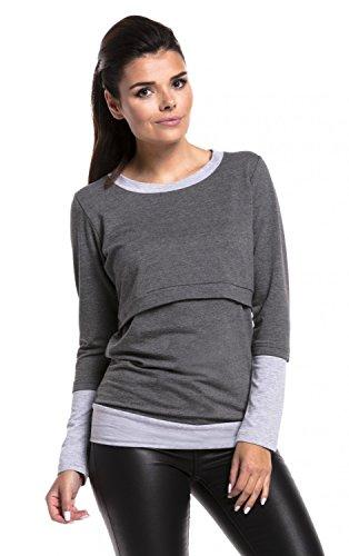 Zeta Ville - Still-Sweatshirt Kontrastdetails Stillen Lagendesign - Damen - 381c Dunkelgrau Melange