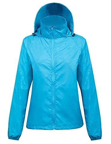 Femme Bleu Veste De Pluie Imperméable Pliable Capuche Manches Longues Taille M FR1001-3