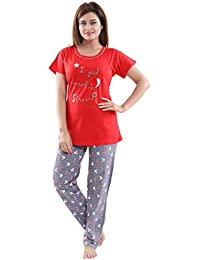 20c22a9aae South India SHOPPING MALL Nice Choice Red Graphic Print Hoseiry Women Night  Dress