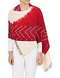 Marooned laine indienne accessoires châle femmes Cream Tie-Dye cadeaux de mariage main 36 x 80 pouces