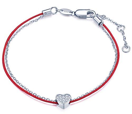 Unendlich U Klassisch Herz Damen Charm-Armband 925 Sterling Silber Zirkonia Armkette Rote Kordelkette Verstellbar Armkettchen, Silber (Jugend-rot-herz)