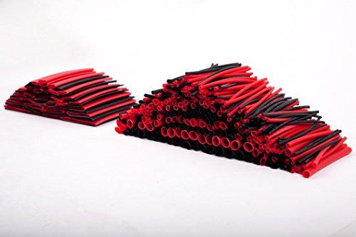 Preisvergleich Produktbild 428PCS Rot Schwarz sortiert Schrumpfschlauch 2Farben 10Größen Tubing Wrap Sleeve Set Combo
