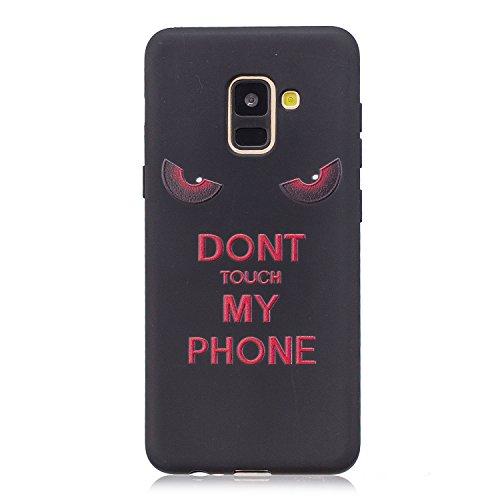 Cozy Hut Samsung Galaxy A8 2018 Hülle, Matt Schwarz Ultra Dünn Flexibel Silikon Case Premium TPU Schutzhülle Anti-Kratzer Anti-Dropping Handyhüllen für Samsung Galaxy A8 2018 - Dunkle Augen