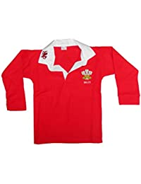 Childrens Wales Cymru Tops 6 Nations World Cup Kids Full Sleeve Rugby Retro Shirts