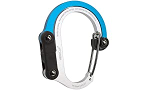 HEROCLIP Hiking Karabiner Clip With 360 Hook Aluminium D-Ring For Camping Hiking Traveling Fishing (Blue Steel)
