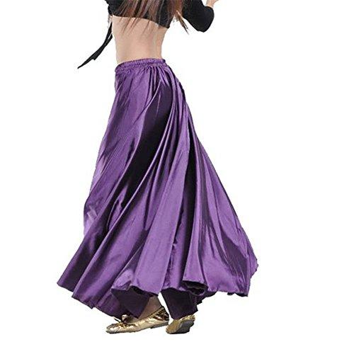 90 centimetri di danza del ventre di raso Lungo abito cintura elastica disegno vestito (porpora)
