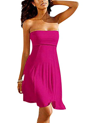 Damen Strandkleid Off Shoulder Bandeau Kleid Casual Kleid Beachwear Rose