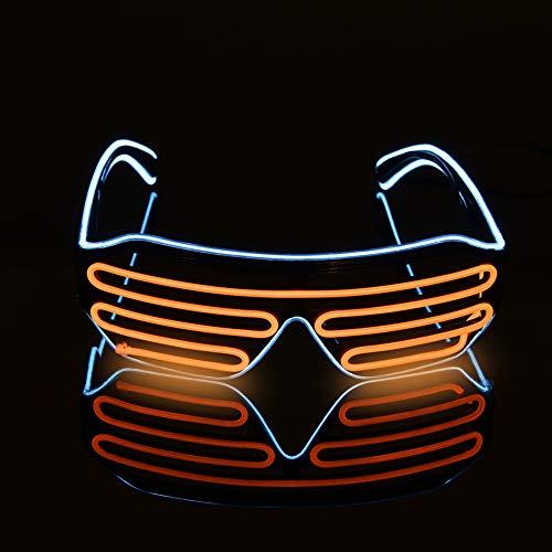 Queta LED-Brille, leuchtet in Leuchtenden Farben, für Weihnachten, Hochzeit, Geburtstag, Party, Dekoration, 4 Farben Blue+orange