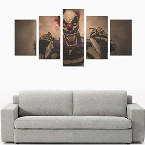 Böse Scary Clown Monster (kein Rahmen) Leinwanddruck Sets Wandkunst Bild 5 Stück Gemälde Poster Drucke Foto Bild Auf Leinwand Fertig Zum Aufhängen Für Wohnzimmer Schlafzimmer Home Office Wanddekor