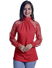 165ce8036a8df Timbre Women Stylish High Neck Party Wear Red Top