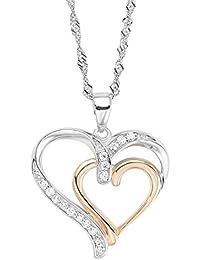 Amor Damen-Kette 45 cm mit Anhänger Herz Bicolor 925 Sterling Silber teil-rosévergoldet Zirkonia weiß