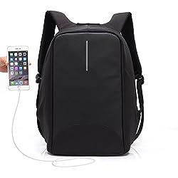 Mochila Antirrobo UBaymax USB Mochila de seguridad con cargador, Mochila Bolsa Impermeable de colegio viaje negocios, Mochila para ordenador portátil 15.6, regalo para estudiantes/hombre /mujer (Negro)