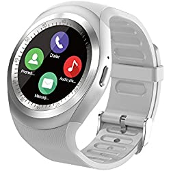SEPVER Smart watch SN05 Round Smartwatch Pedometer Fitness Tracker with SIM TF Card Slot Calls Notifications for IOS Android Samsung Huawei Sony LG HTC Google Men Women (White)
