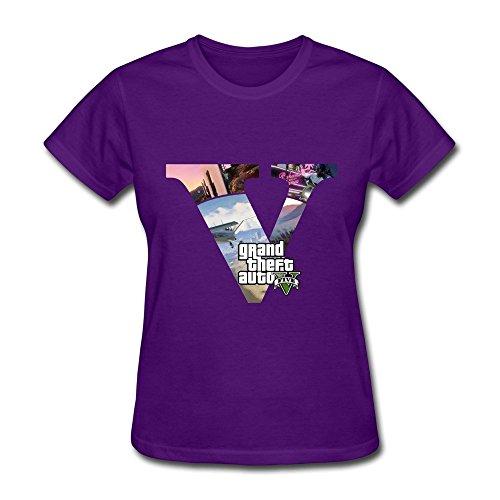 Nana-Custom Tees - Camiseta - para mujer Negro morado XL