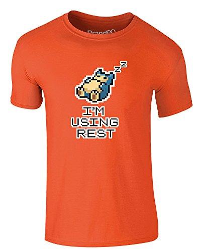 Brand88 - I'm Using Rest, Erwachsene Gedrucktes T-Shirt Orange