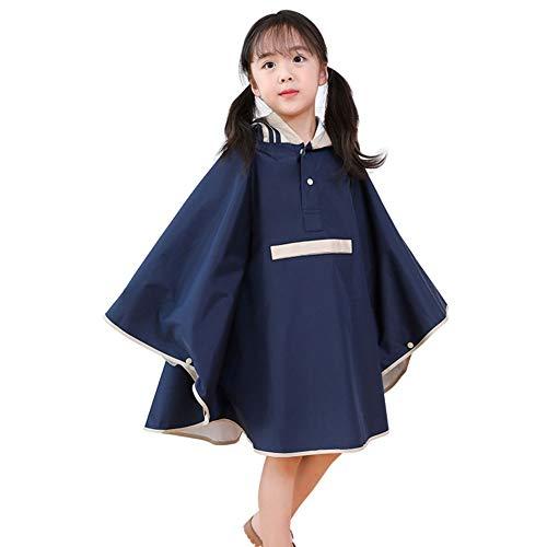 YongFeng Kinder Regenmantel Mädchen Jungen Regenmantel Kindergarten Kinder Baby Stereo-Studenten mit Tasche Poncho (Farbe : Marine, größe : L)