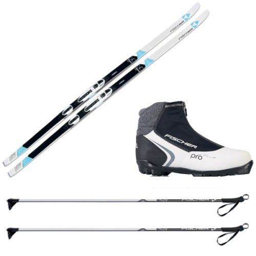 Pack de esquí de fondo para mujer Fischer Elegance con fijaciones, botas y bastones, M (174 cm Länge) - für 70 bis 85 kg