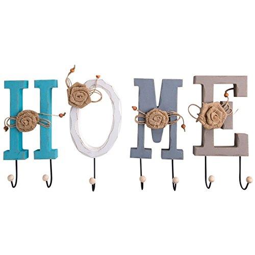TOOGOO Kreative Amerikanische Laendliche Holz HOME Brief Wandbild Ankuppeln Anhaenger Kleiderhaken Dekoration