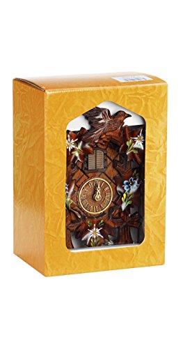 """'isdd Cuckoo Clock Tu 411Q KSV Quarz-Uhr CUCÚ, Design""""5follajes, Vogel in Geschenkbox, Walnuss, Edelweiss (Flor de Las Nieves) und Enzian handbemalt"""