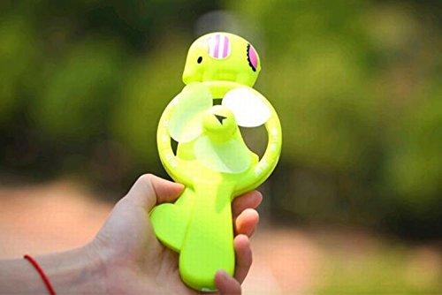 Chickwin~Sommer-SpaßBeweglicher Hand drücken Mini Handfächer Kinder Handbuch Kleine Spielzeug Fan (Grün) (Trapez Drucken)