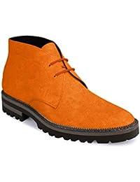 Modello Gerardo - 41 EU - Cuero Italiano Hecho A Mano Hombre Piel Naranja Zapatos Vestir Oxfords - Cuero Cuero Pintado a Mano - Encaje