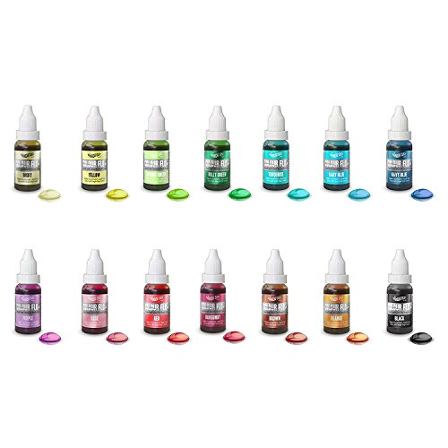 Set x 14 - Rainbow Dust Colour Flo Liquid Lebensmittelfarbe Airbrush-Farbe 16ml (Lebensmittelfarbe Set)