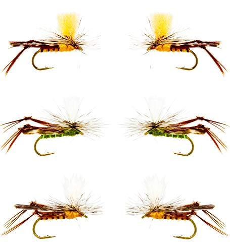 Outdoor Planet 12 Psycho Prince/Anato May/PMX/Fallschirmhopper Trockenfliegen und Nymphfliegen für Forellenfliegenfischen, Fliegenfischen, Köder Sortiment, 12 Parachute Hopper -