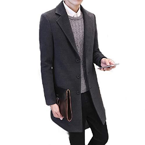 CuteRose Men's Single Breasted Long Jackets Wool Blend Mid Long Worsted Coat Dark Grey 2XL