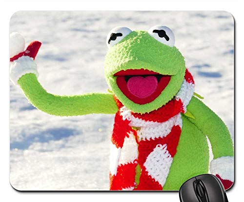 Mouse Pads - Kermit Frog Snow Ball Throw Snow Winter Cold Fun 154