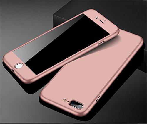 iPhone 7Plus case 360gradi copertura 3in 1Slim Adamark antiurto Shell Full Body copertura protettiva + protezione dello schermo in vetro temperato per iPhone 7Plus, Gold Rose Gold