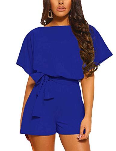 FeelinGirl Mujer Mono Corto Suelto de Cuello Barco con Cinturilla Graciosa de Moda Azul S
