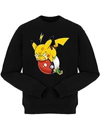 Pull Parodie Pokémon - Pikachu en mode Super vénère contre Sasha :) - Grrrr, Vengeance !!!! :) - Pull Noir - Haute Qualité (891)