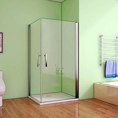 Duschkabine 90x90cm Duschabtrennung 2 Duschtür Drehtür Duschwand NANO Glas 185cm
