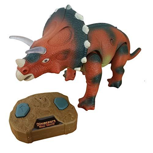 Ferngesteuerter Dino-Saurier, A164, Triceratops r/c Dino Kinder-Spielzeug mit Fernbedienung, Geschenk-idee für Jungen und Mädchen für Weihnachten und zum Geburtstag, Geburtstags-Geschenk