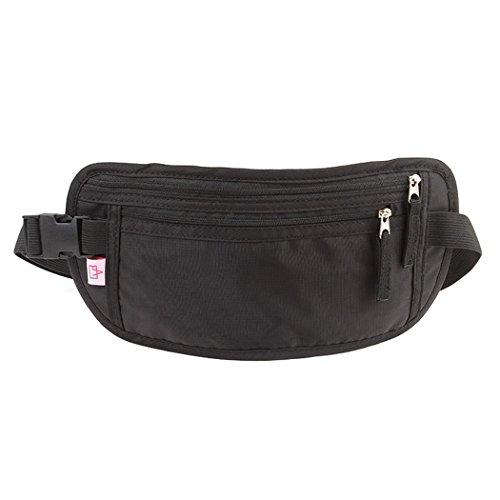 Shopper Joy Cinturón de Dinero Riñonera de Viaje Interior con Bloqueo RFID para llevar Billetes Pasaporte Tarjeta de Crédito para Hombres y Mujeres, Ligera Espaciosa y Impermeable - Negro