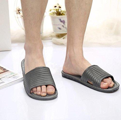Herren Badeschuhe Slipper,Amcool Hausschuhe Streifen Sandalen Innen- & Draussen Hausschuhe Slippers Grau