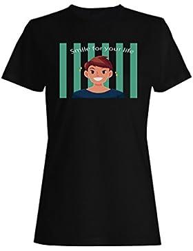Sonríe porque estamos juntos chico camiseta de las mujeres f614f