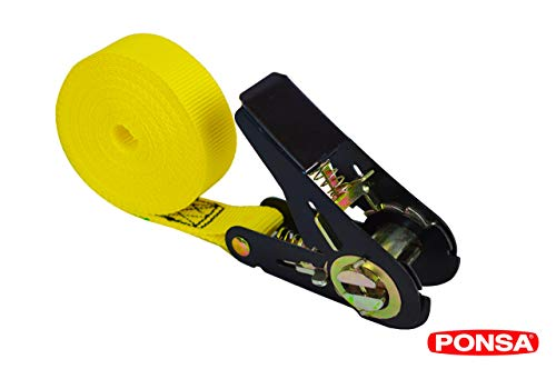 PONSA Cinta trincaje con tensor -Ratchet - Carraca - para cargas semi pesadas. Longitud 5m. Resistencia rotura real 2.000 kg. 027135025108