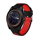 WLH Intelligente Armbanduhr Fitness Tracker Armband Sport Uhr mit Kamera Schrittzähler Schlaftracker Smartphone Smartwatch Uhr,Red