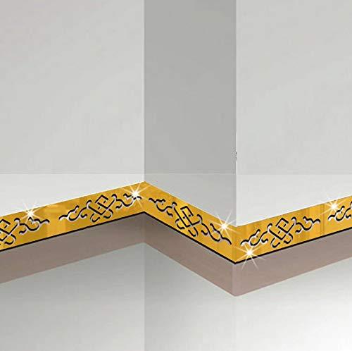 Sockel Spiegel Wandaufkleber Taille Linie Wand Grenze Dekoration Aufkleber Selbstklebende Wandaufkleber Wohnkultur 5 Stücke 3D (Selbstklebende Grenze Wand)