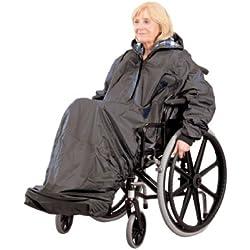 Homecraft, poncho imperméable pour fauteuil roulant, couverture intégrale, doublé, avec manches et ceinture élastiques pour un ajustement parfait, ouvertures pour accès aux poignées du fauteuil.
