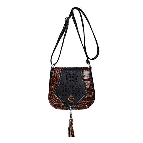 Vintage Damen PU-Leder Tasche Umhängetasche Messenger Bag Schultertasche Dunkelbraun Einheitsgröße Schwarz