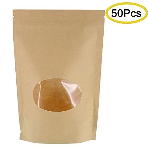SumDirect 50pcs Kraft papier sac avec fermeture zip, réutilisable de sac de pied avec fenêtre transparente et encoche du rasgón du cire à cacheter pour ranger, biscuit, aliments secados, Cocktail 14 x 19 cm